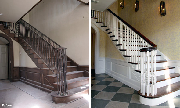 A before and after of a Federal stair hall restoration.  Photo credit: www.brenthullcompanies.com